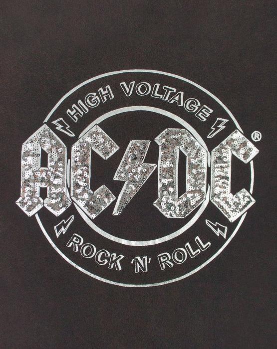 Ac/dc High Voltage : ac/dc, voltage, AC/DC, Voltage, Sequin, Women's, Front, T-Shirt, Vanilla, Underground