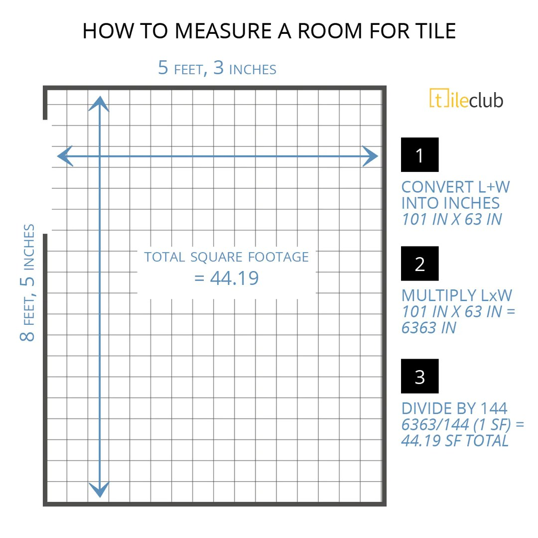 room for tile and calculate square footage