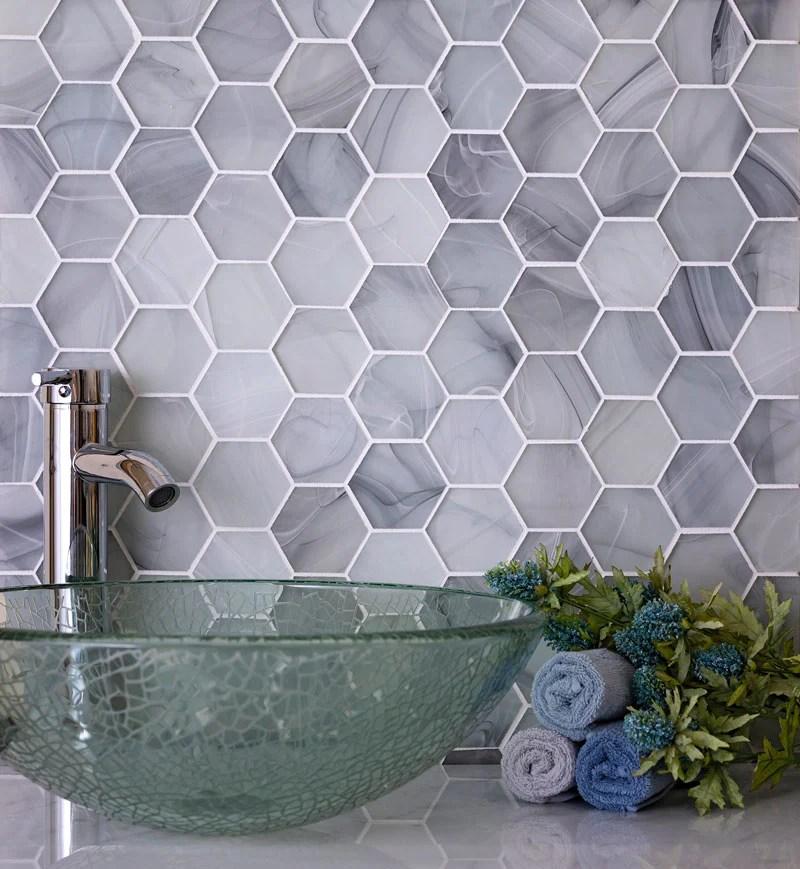 designing a bathroom with hexagon tiles