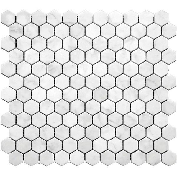 1 inch white carrara hexagon marble mosaic tile honed finish