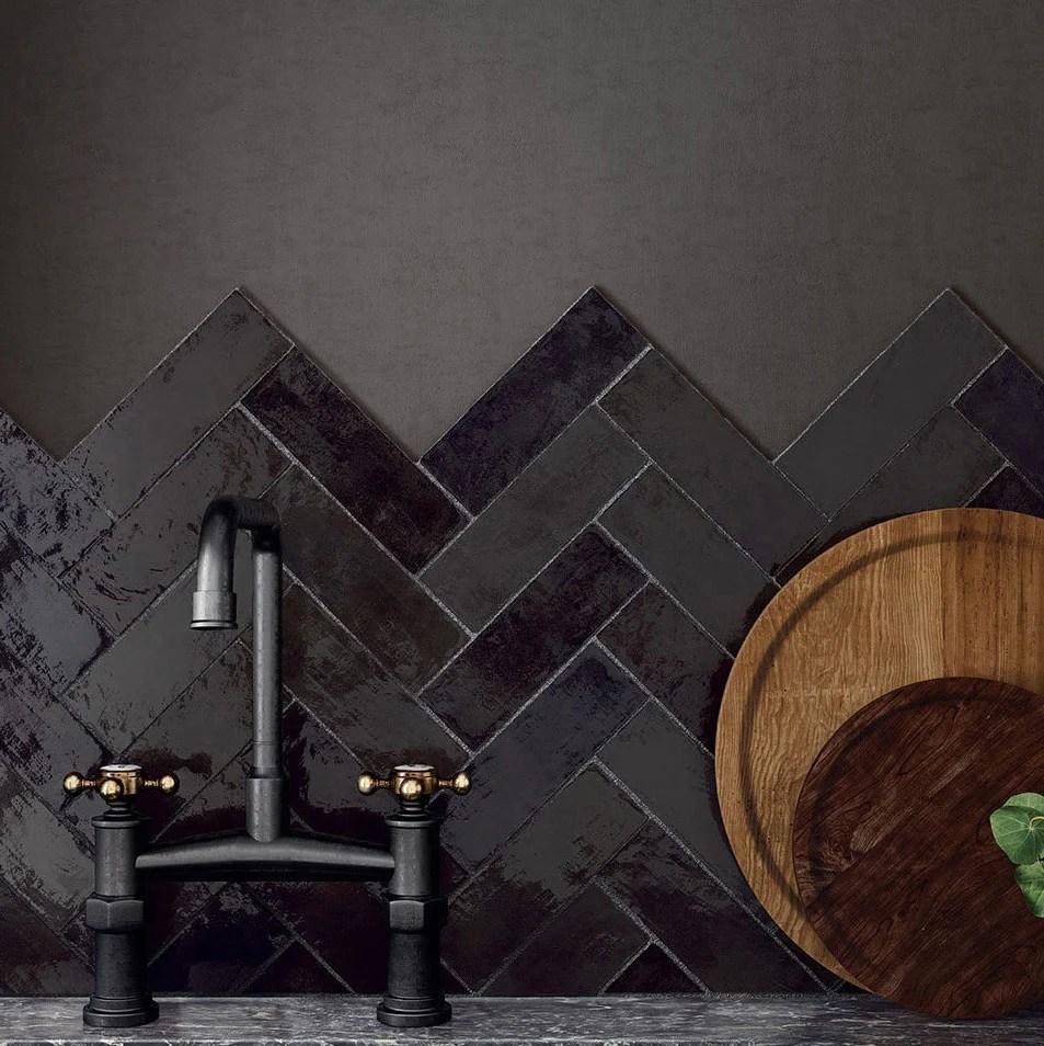 mallorca black ceramic subway tile 2 5x8