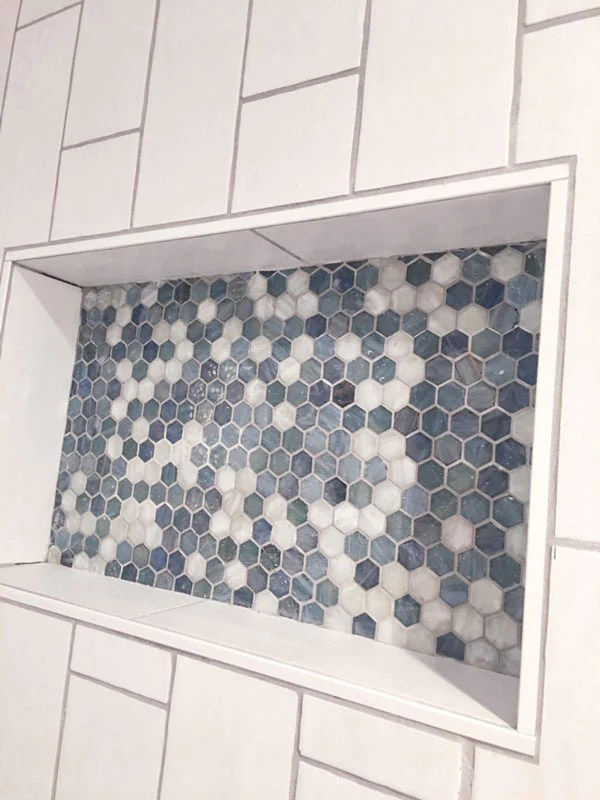 blue and white hexagon glass mosaic tile
