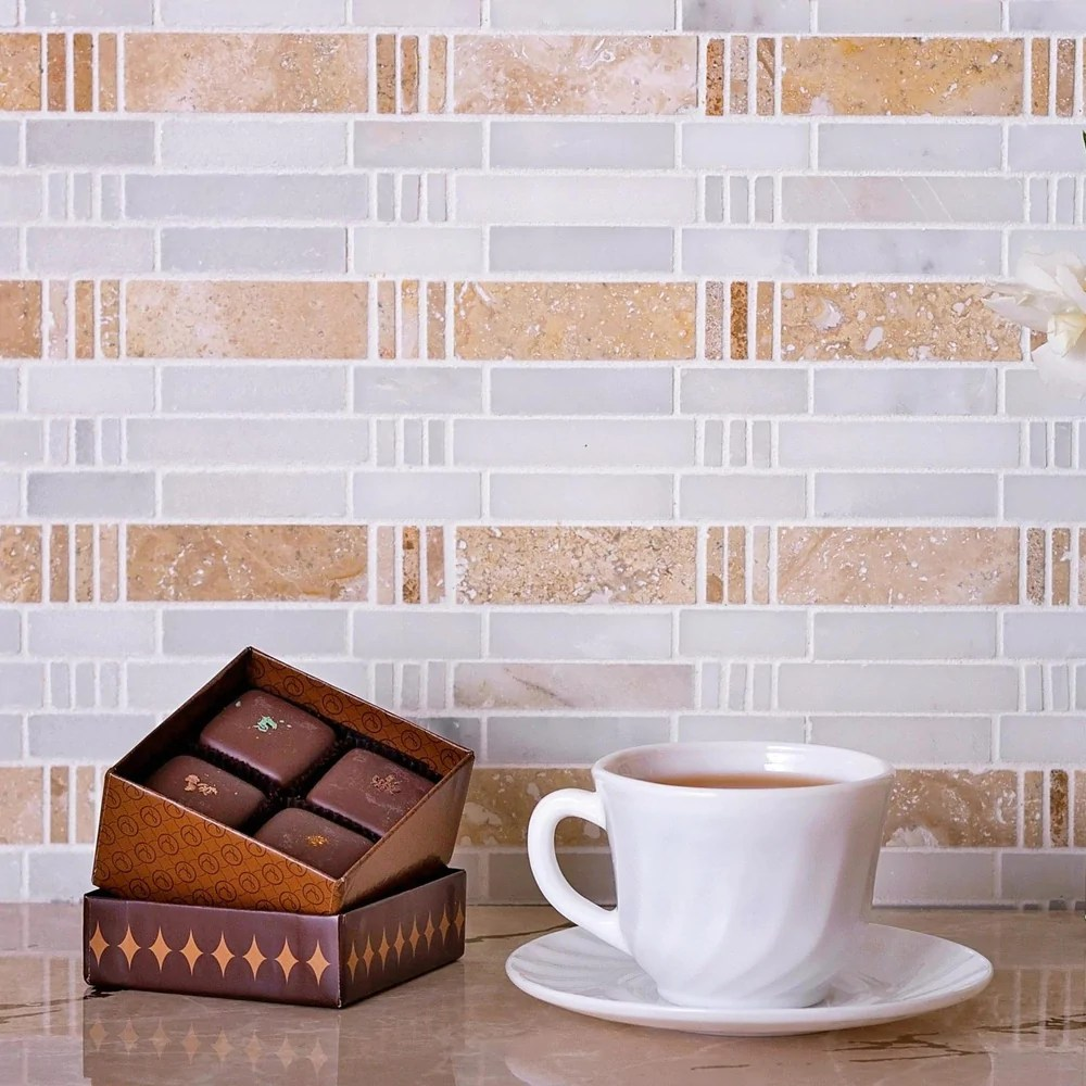 12 x 12 bamboo sticks marble mosaic tile