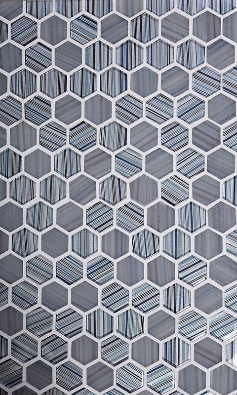 fabrique blue grey hexagon glass mosaic tile