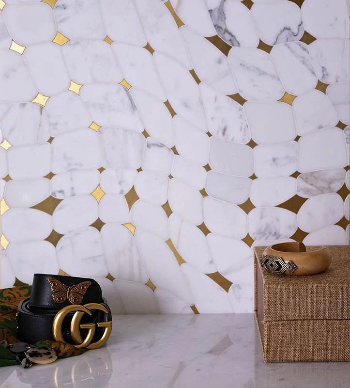 12 x 12 5 golden stars calacatta gold
