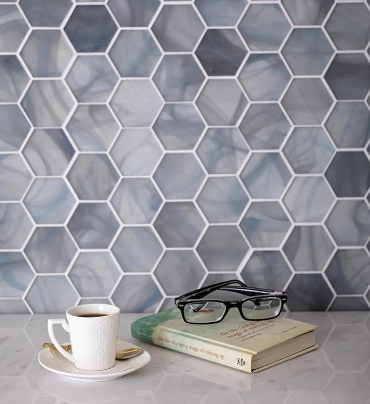 9 1 x 10 5 ocean blue glass hexagon