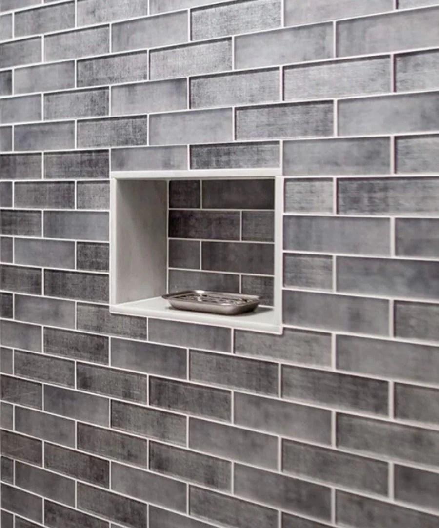 grey fabric glass subway mosaic tile