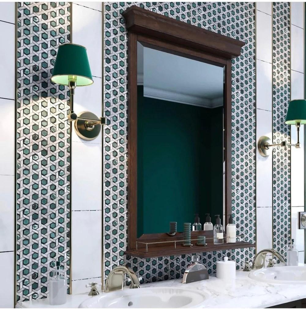 white emerald weaved hexagon glass mosaic tile