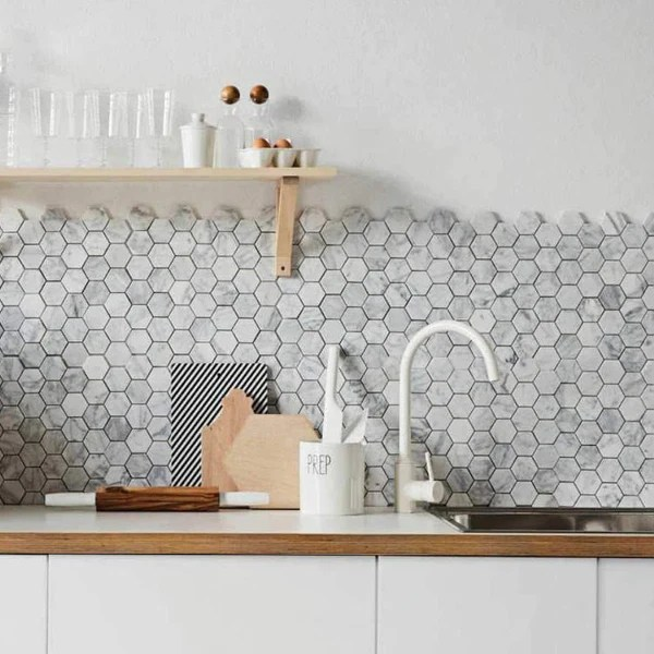 https www tileclub com products 4 inch white carrara hexagon honed marble mosaic tile