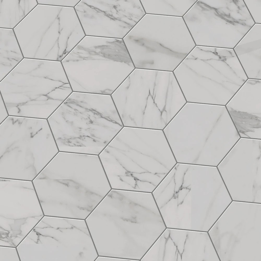 cosmo white marbled porcelain hexagon tile