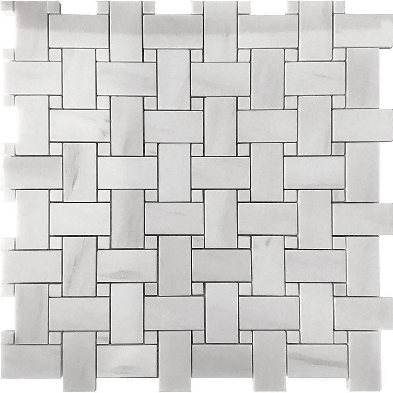 dolomite white basket weave marble mosaic tile