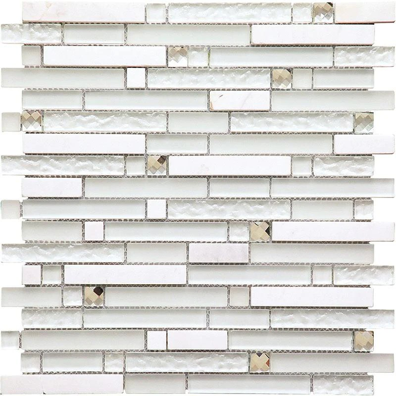 ice shale rectangular white glass and stone tile