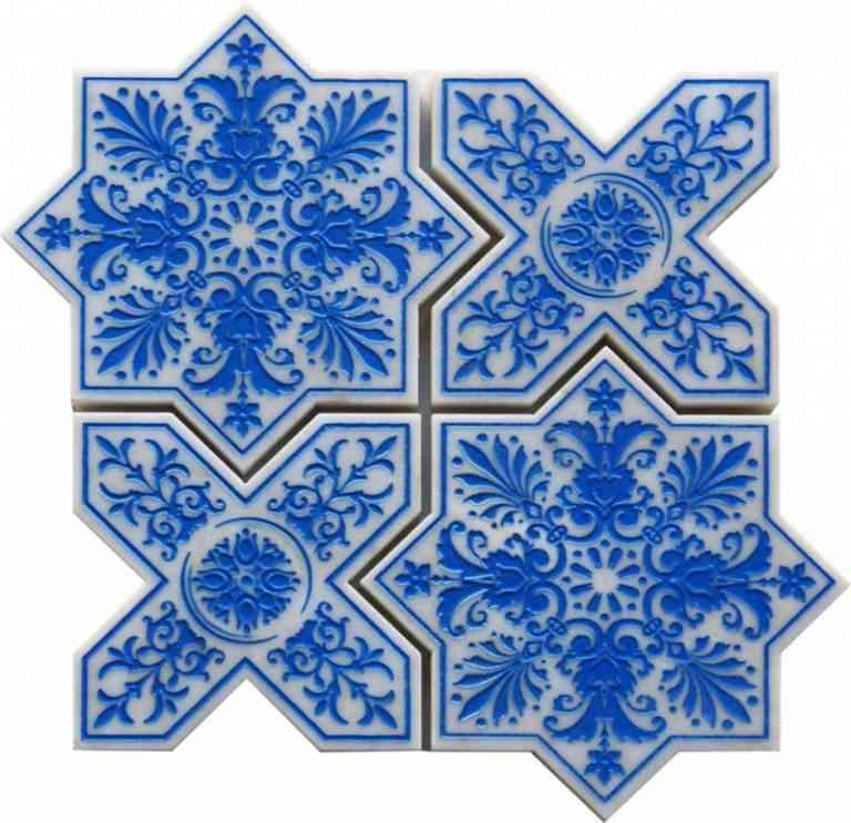 moroccan star cross blue etched marble mosaic tile
