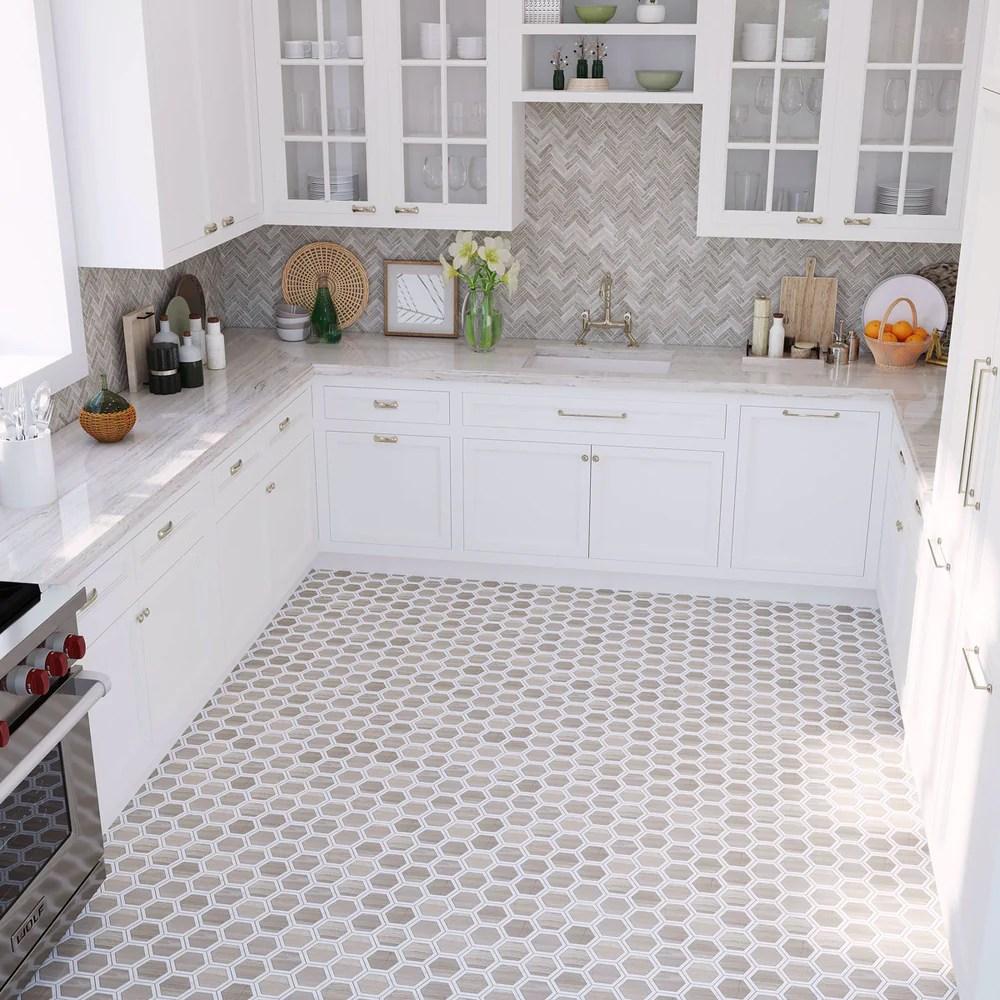 1x3 herringbone wooden beige polished marble mosaic tile