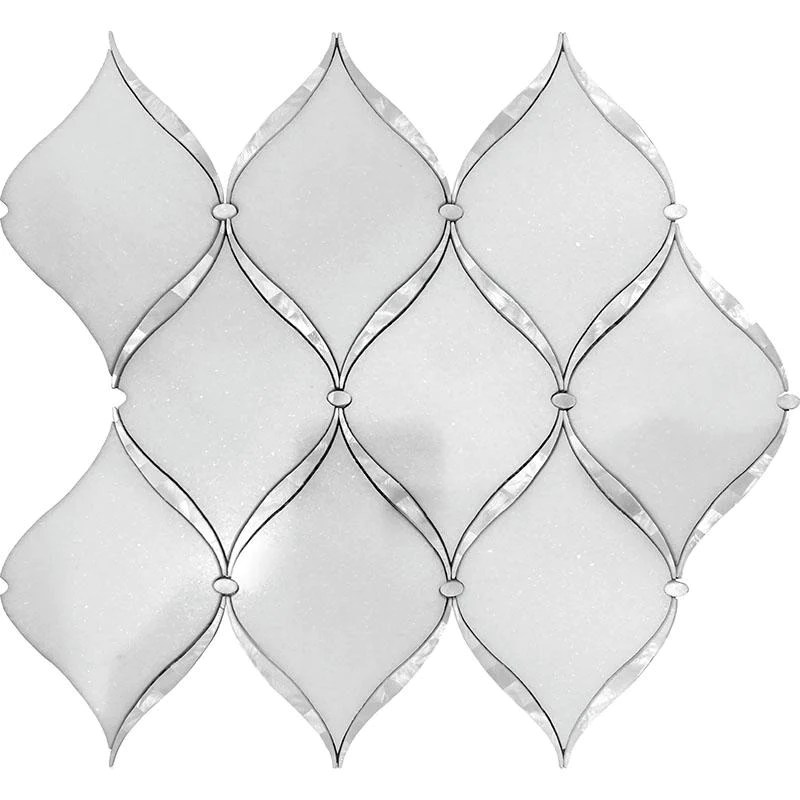 pearl chic white marble mother of pearl waterjet mosaic tile
