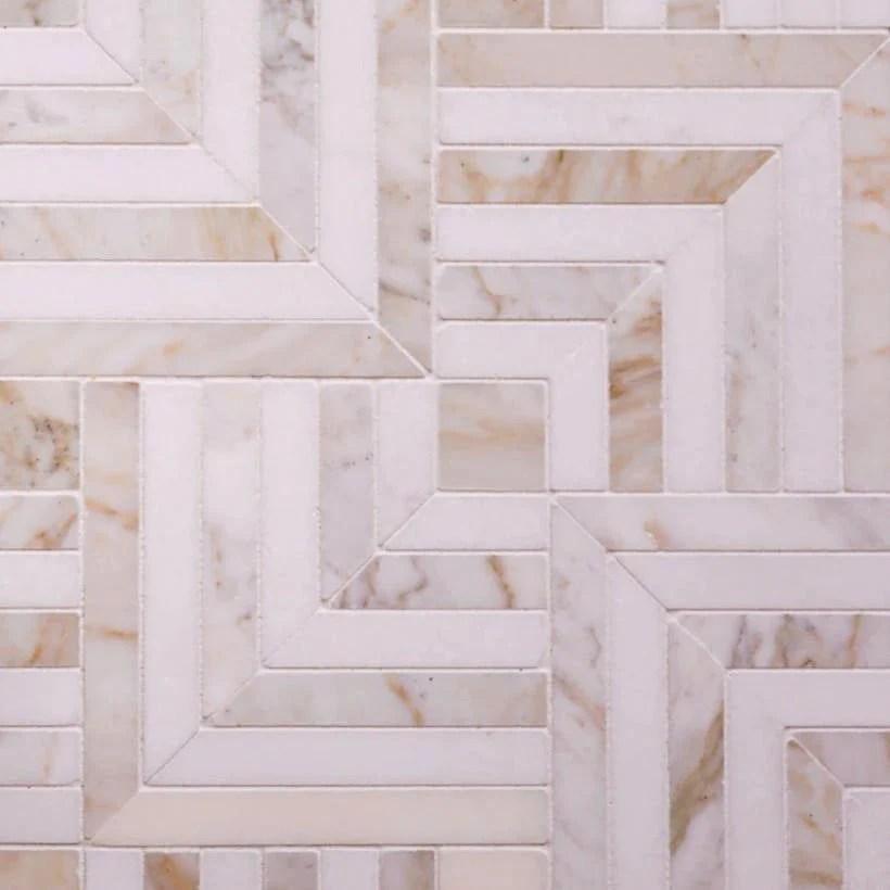 square weave calacatta gold thassos mosaic tile