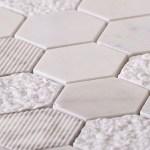 Textured Carrara Honeycomb Hexagon Marble Mosaic Tile