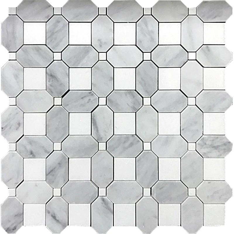 thassos square and carrara octagon marble mosaic tile