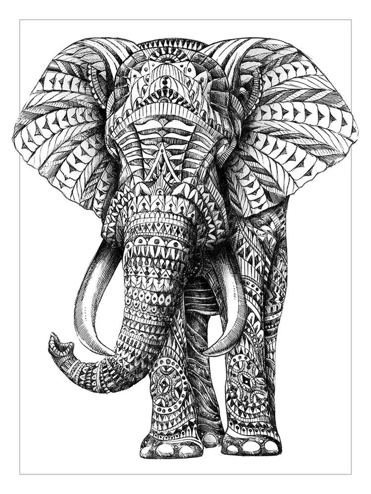 BIOWORKZ Ornate Elephant Silkscreen Print 12x16 inches