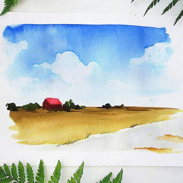 barnyard landscape watercolor kit