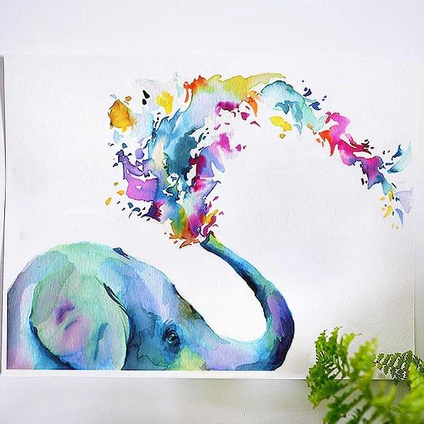 rainbow elephant watercolor kit