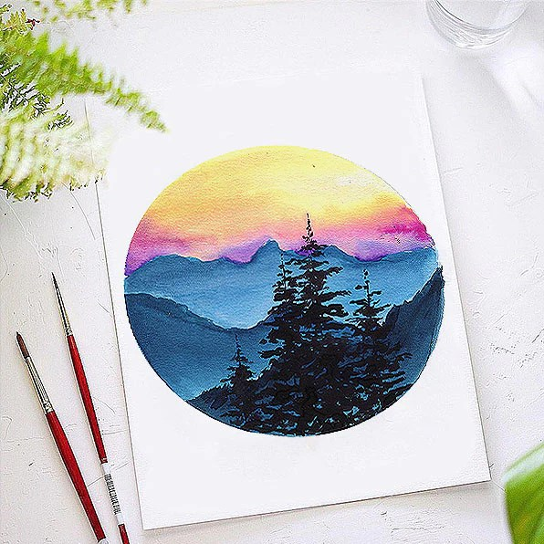 sunset mountain watercolor kit