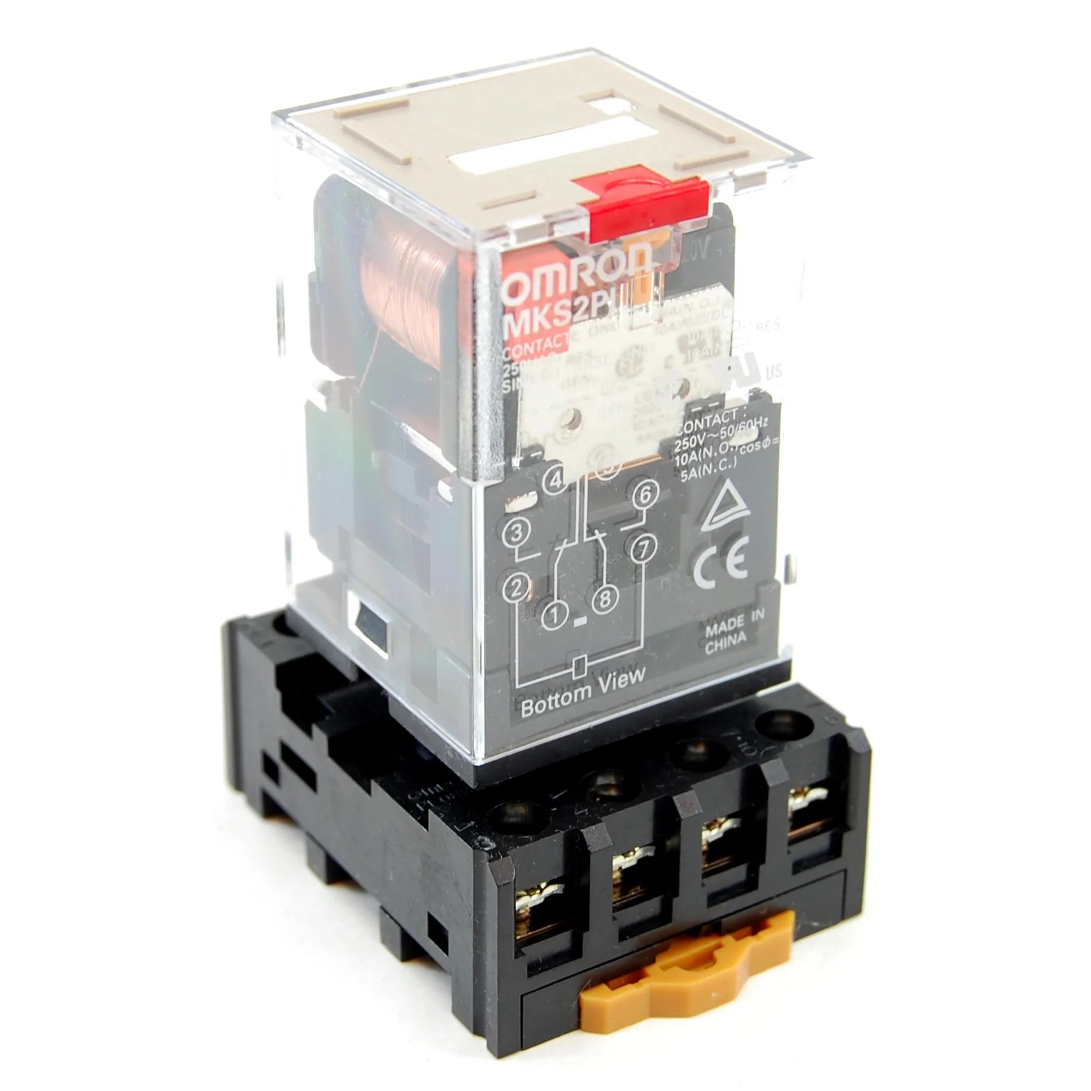 small resolution of 10a 8 pin 2 pole ice cube plug in relay with socket