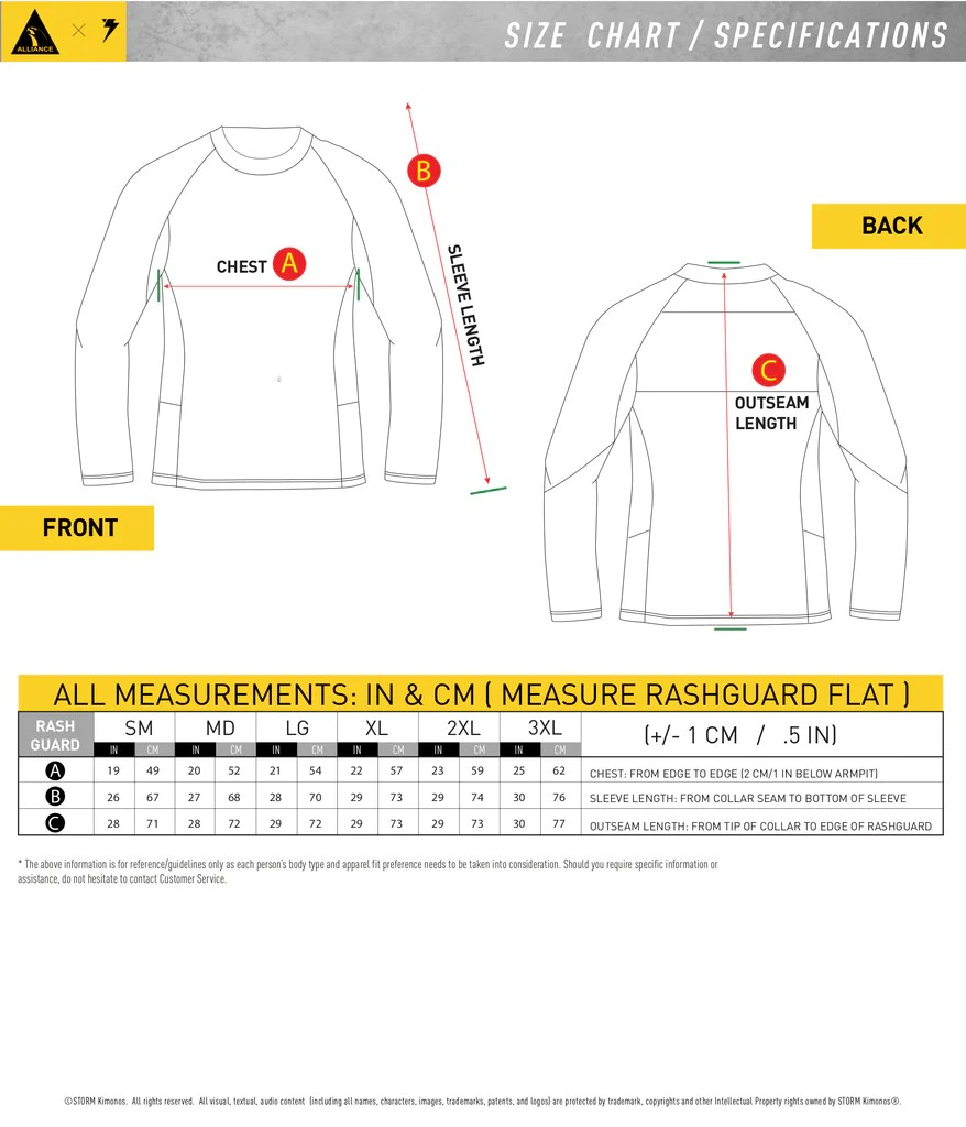 hight resolution of rash guard size chart
