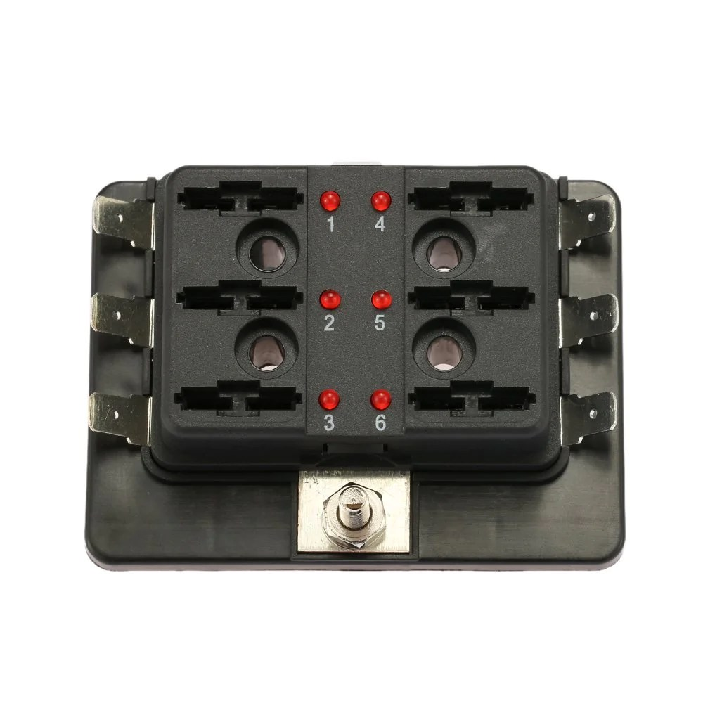 6 way blade fuse box holder with led warning light kit for car boat marine trike  [ 1000 x 1000 Pixel ]