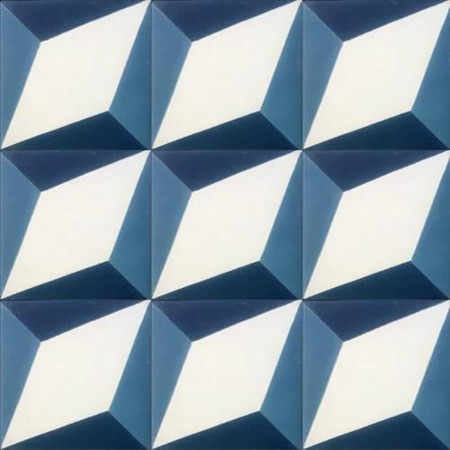 geometric blue white concrete tile
