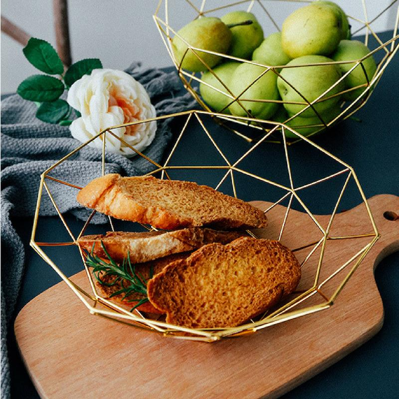 kitchen fruit basket cabinet outlet dilas home geometric rose gold wire metal storage metallic small