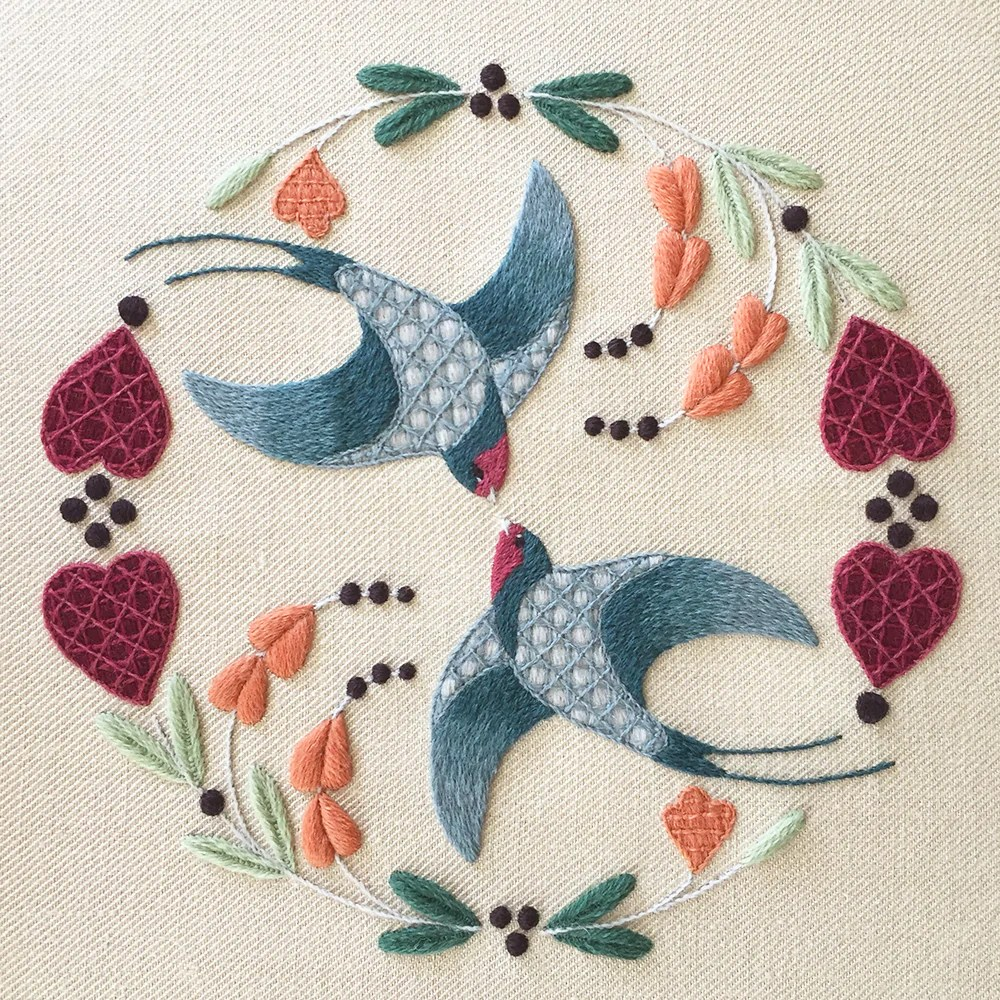 crewel embroidery kit swallows