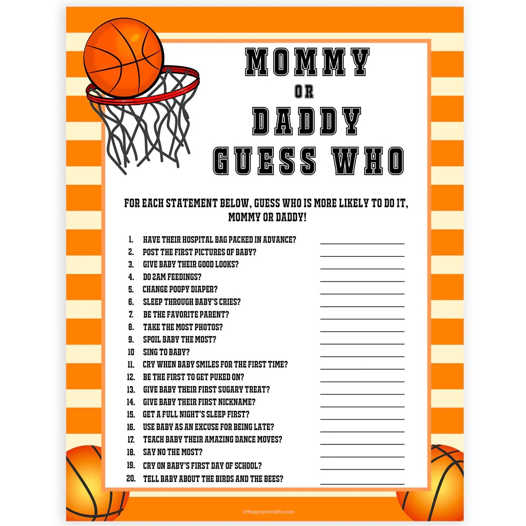 Guess Who S Most Like To Say Game Basketball Baby Shower