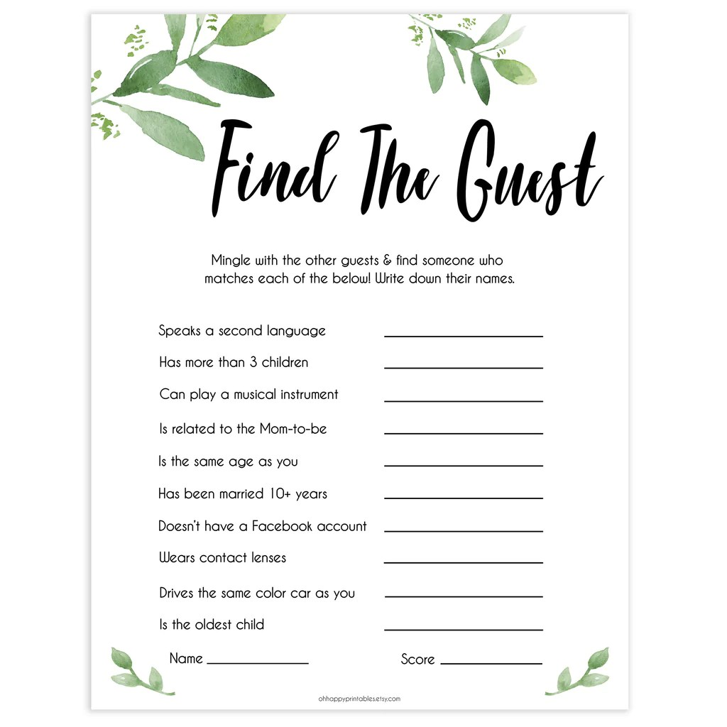 Find The Guest Botanical Baby Shower Games