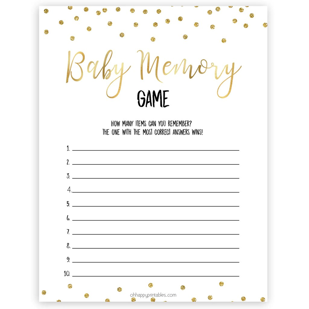 gold baby shower games, baby memory games, printable baby games, fun baby  games