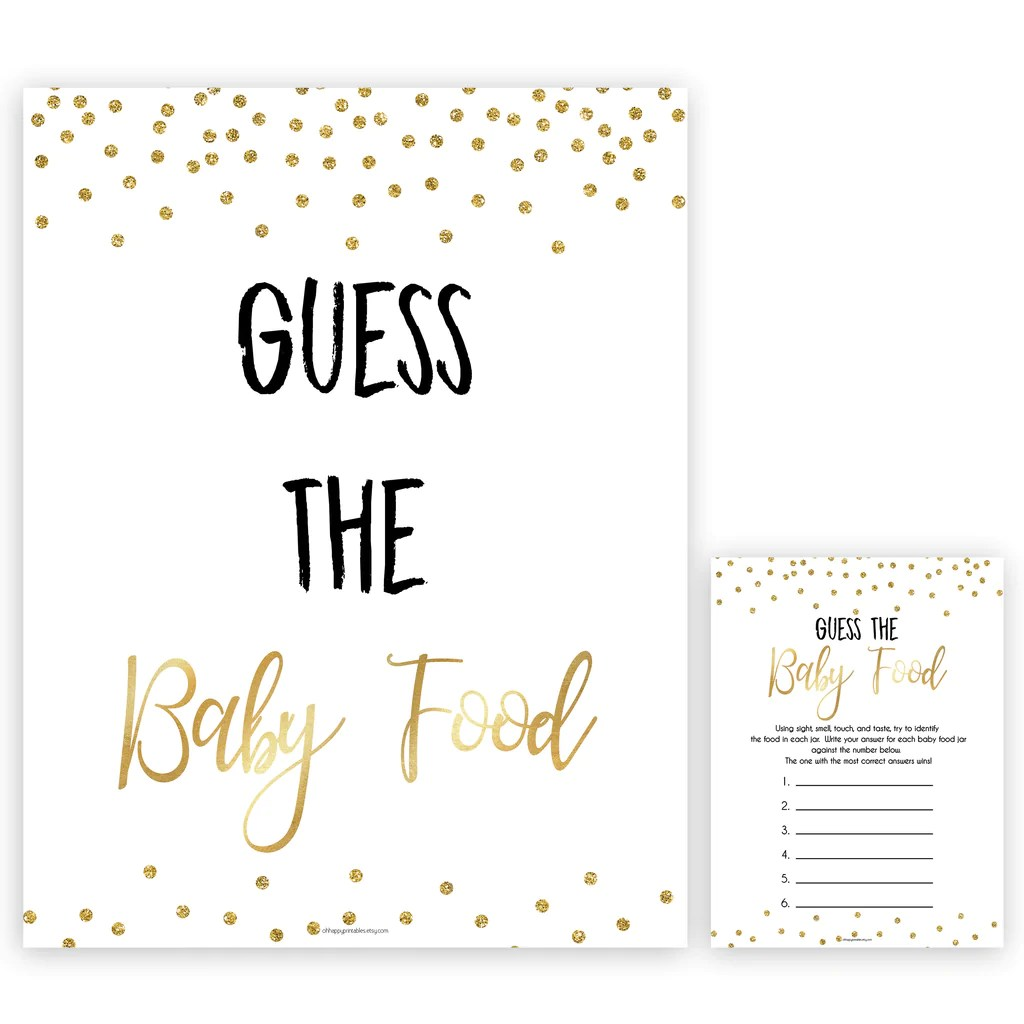 Guess The Baby Food Game Gold Glitter Printable Baby