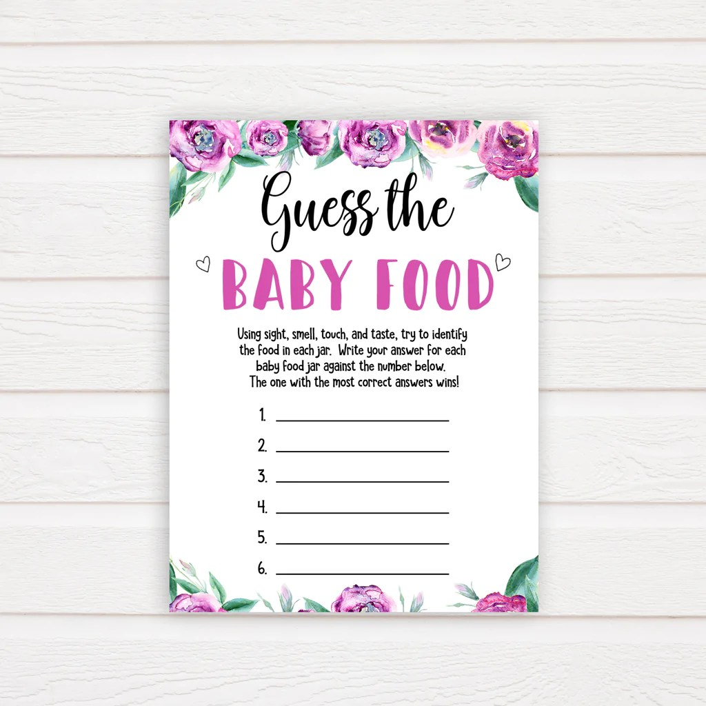 Guess The Baby Food Game Purple Peonies Printable Baby