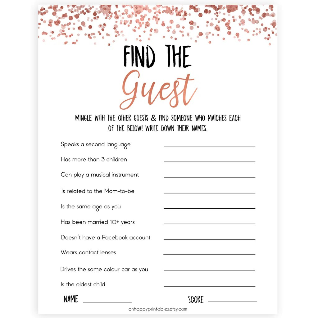 Find The Guest Baby Shower Games Rose Gold Printable