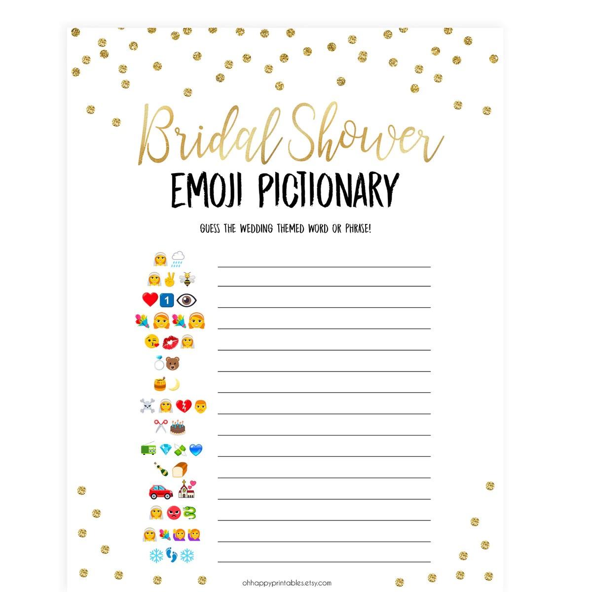 Bridal Emoji Pictionary Shop Printable Bridal Shower
