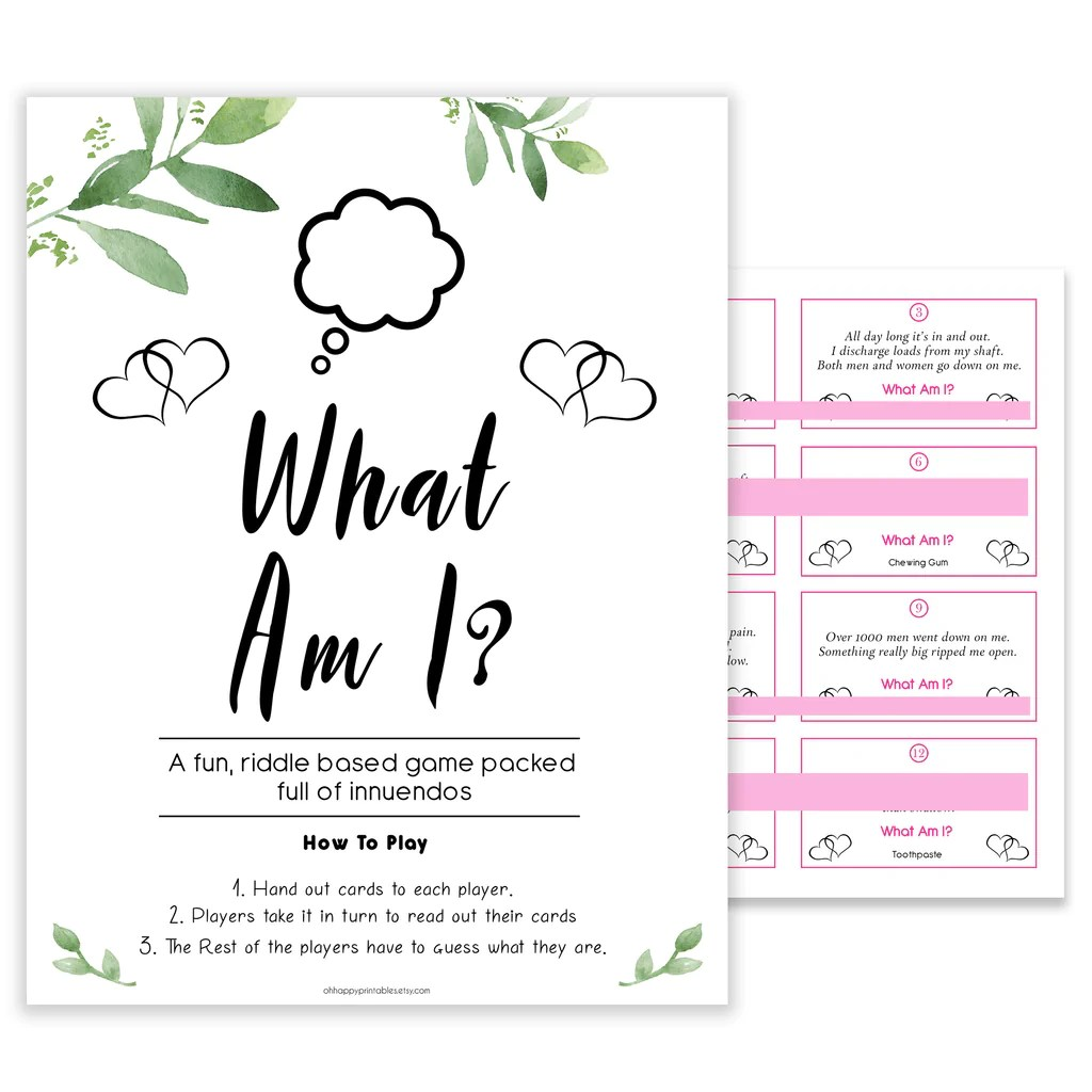 What Am I Game Botanical Baby Shower Games