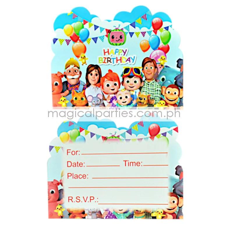 cocomelon 6pc party invitations set