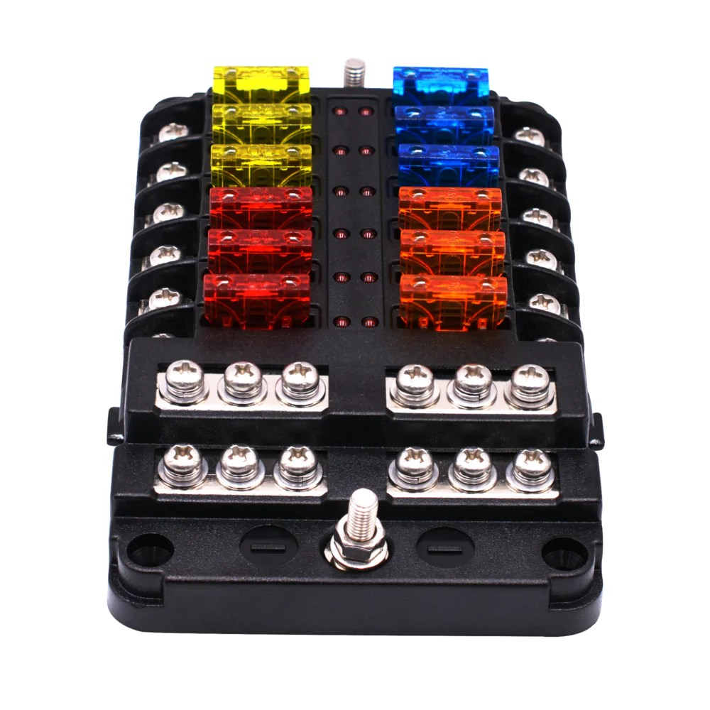 1 in 12 out way car fuse box power plug type fuse box seat with led indicator [ 1000 x 1000 Pixel ]