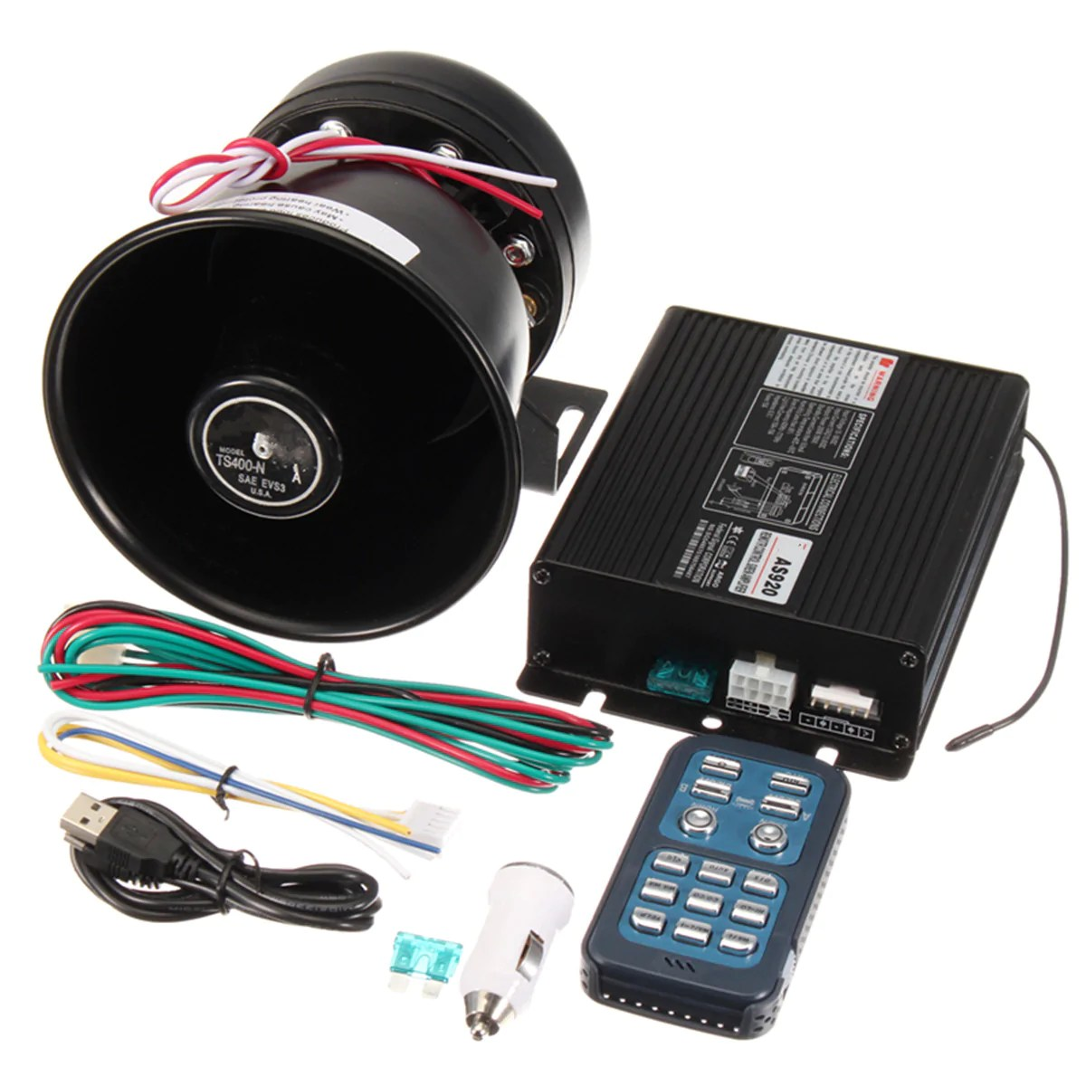 hight resolution of dc12v 400w 8 sound loud car warning alarm police siren horn pa speaker remote