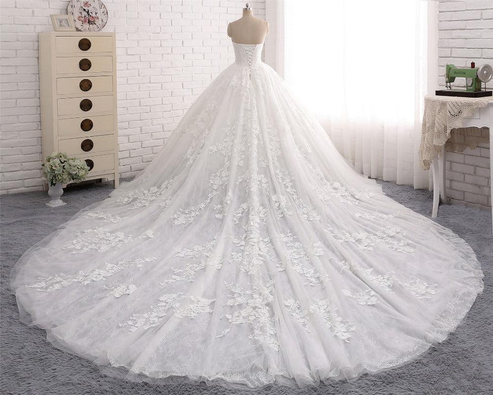 2017 Long A-line Sweetheart Wedding Dress Ball Gown