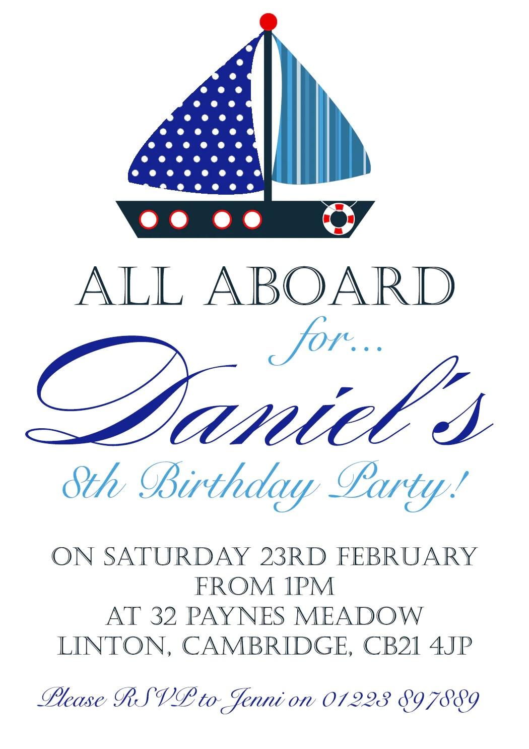 all aboard sailor nautical invitations