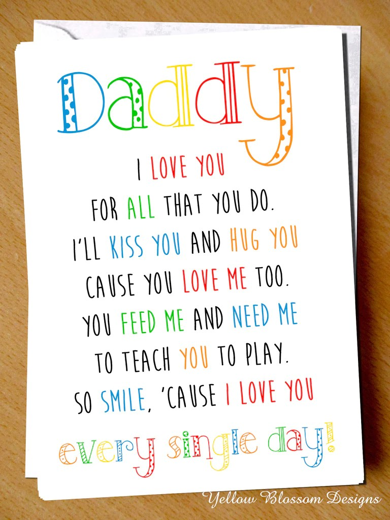 Daddy I We Love You For All That You Do Fathers Day Card