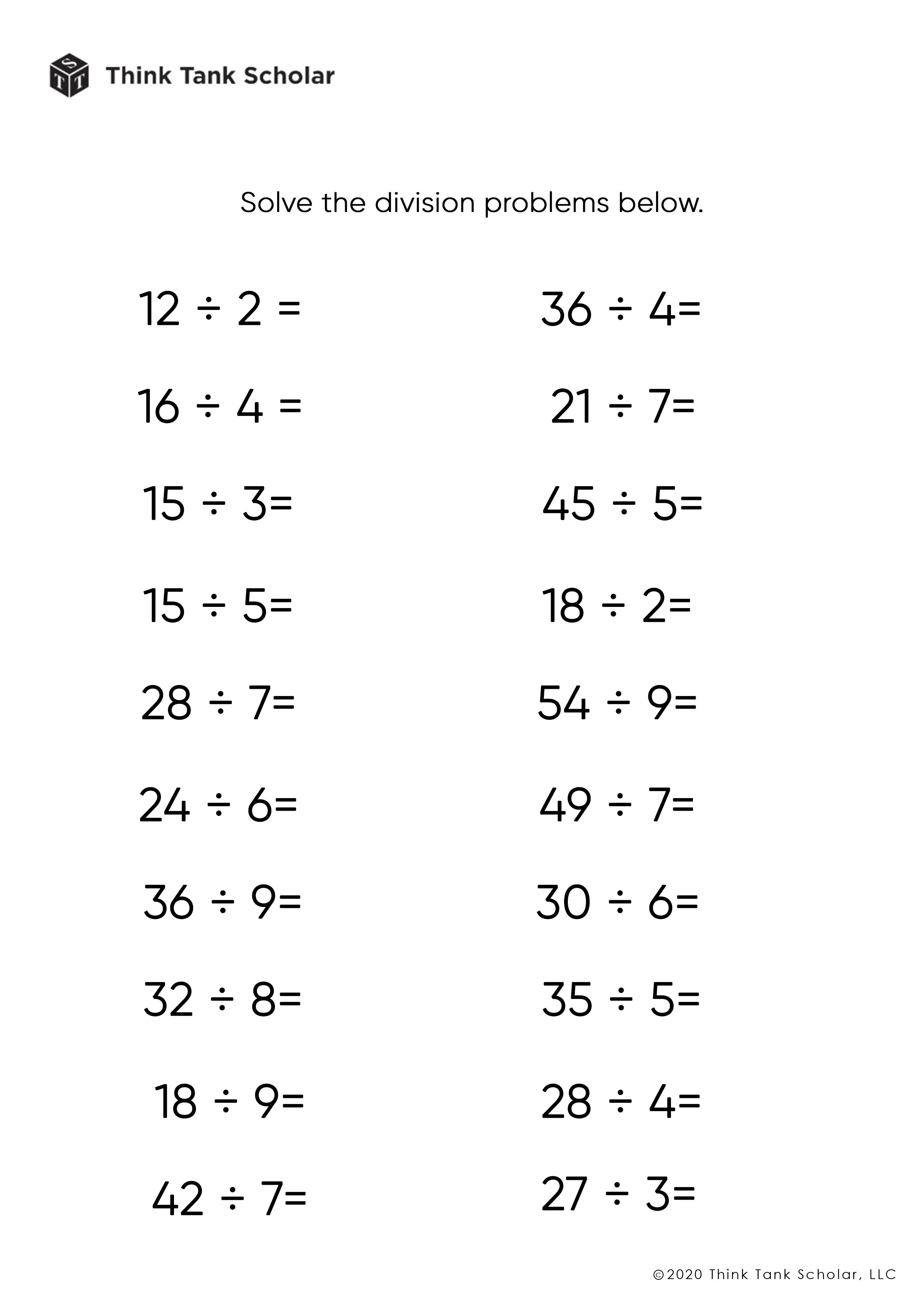 hight resolution of Division Worksheets Exercises Printable PDF (FREE) - Think Tank Scholar