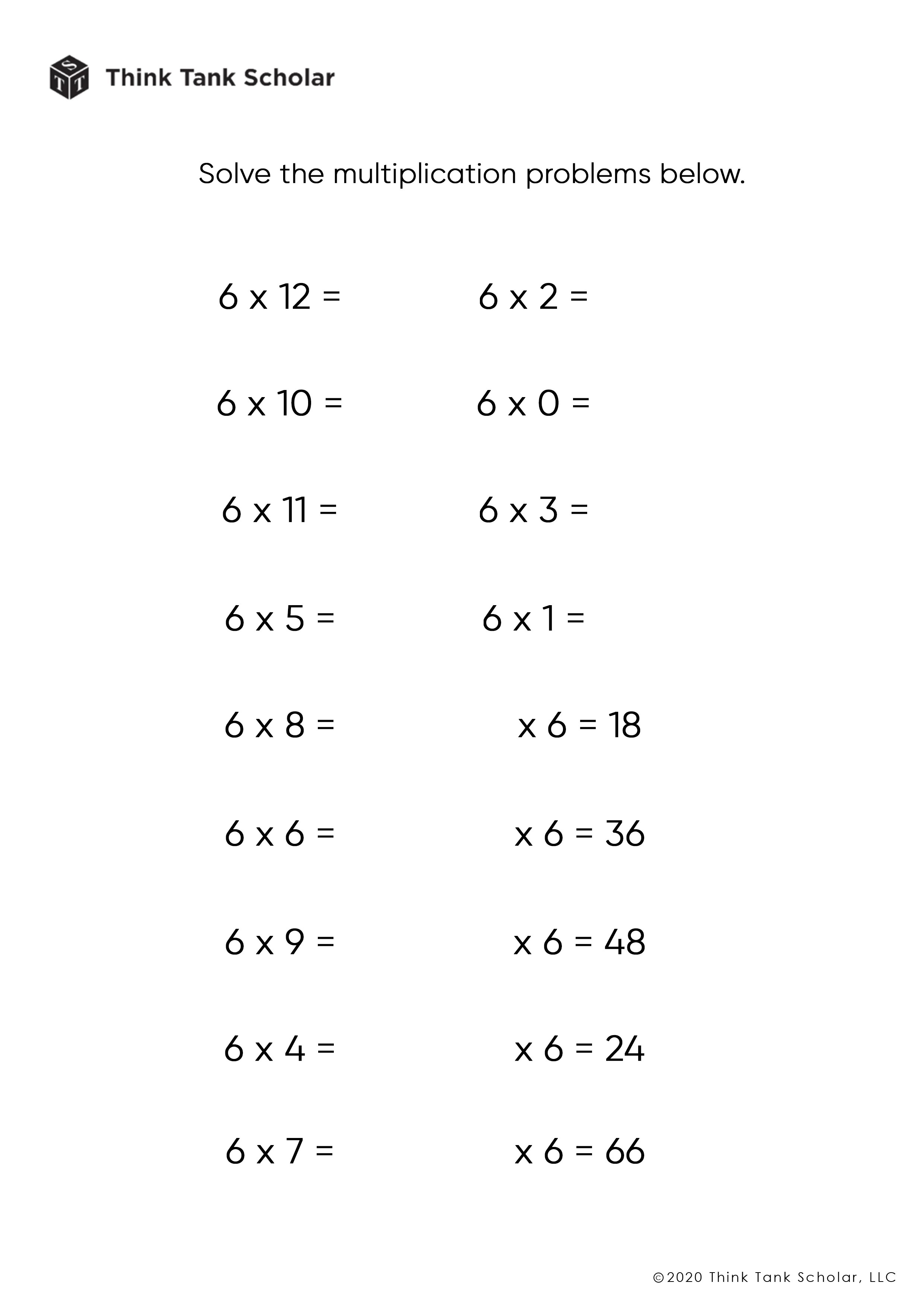 small resolution of Multiplication Worksheets Exercises Printable PDF (FREE) - Think Tank  Scholar