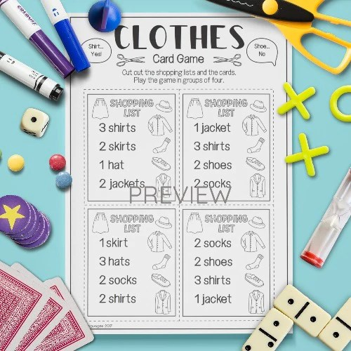 English Esl Kids Clothes Shopping List Game Worksheet