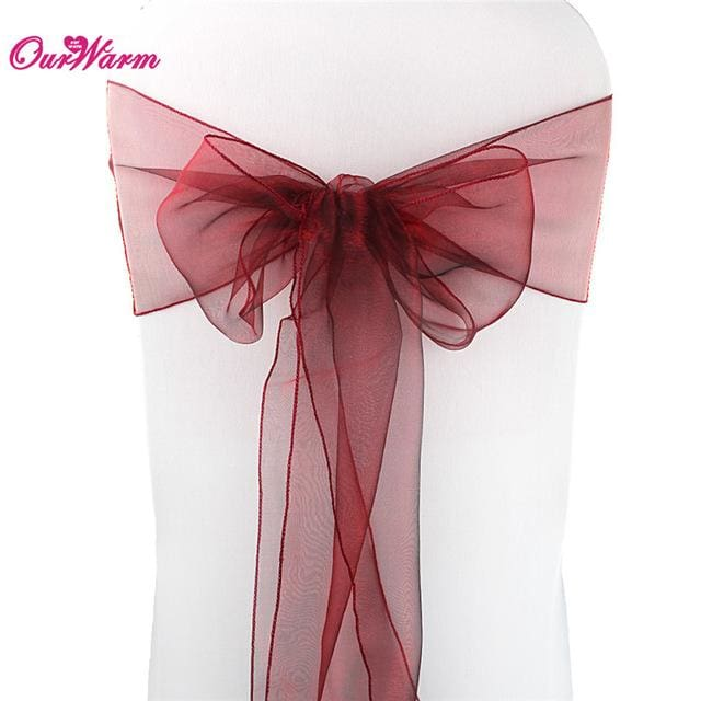 dark red chair sashes portable massage reviews cheap organza bow cover wedding new year christmas party banquet chairs mbmcity